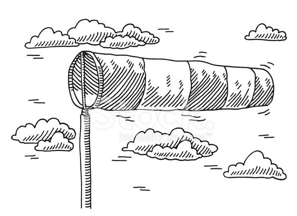 Air clipart wind speed. Windzak indicator tekening stock