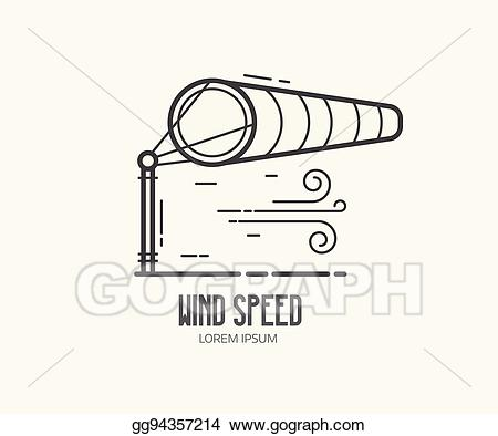 Air clipart wind speed. Vector illustration logo with