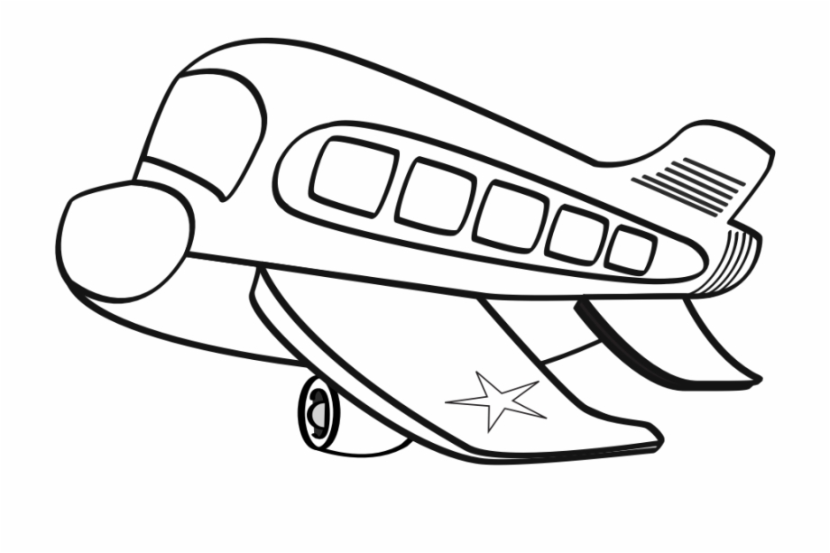 Biplane clipart outline. Funny airplane black and