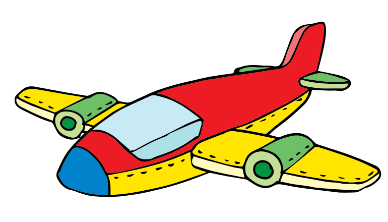 Colorful airplane pencil and. Jet clipart childrens toy