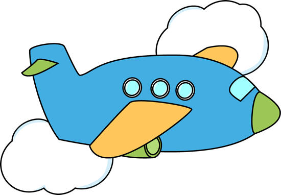 Cute airplane through clouds. Flying clipart