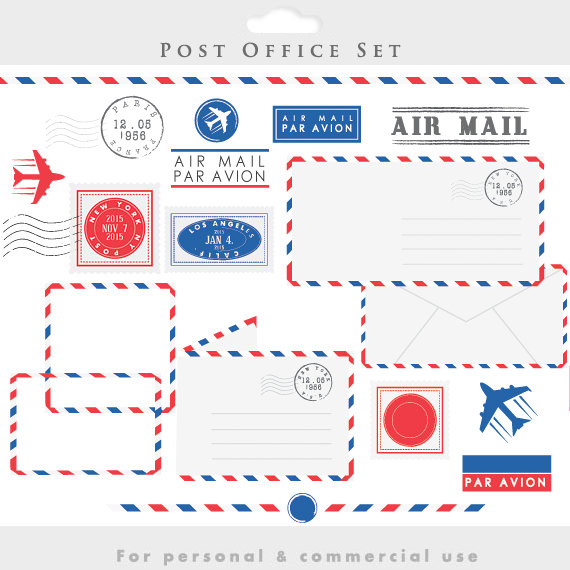 Post office stamps mail. Stamp clipart airmail