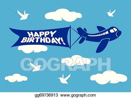 Plane clipart happy birthday. Eps illustration aeroplane with