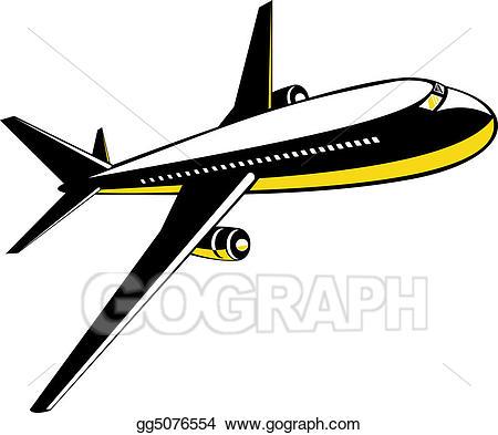 Stock illustration in flight. Clipart plane jumbo jet