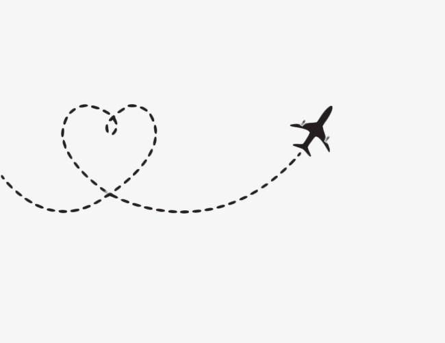 Clipart airplane love. Heart shaped route black