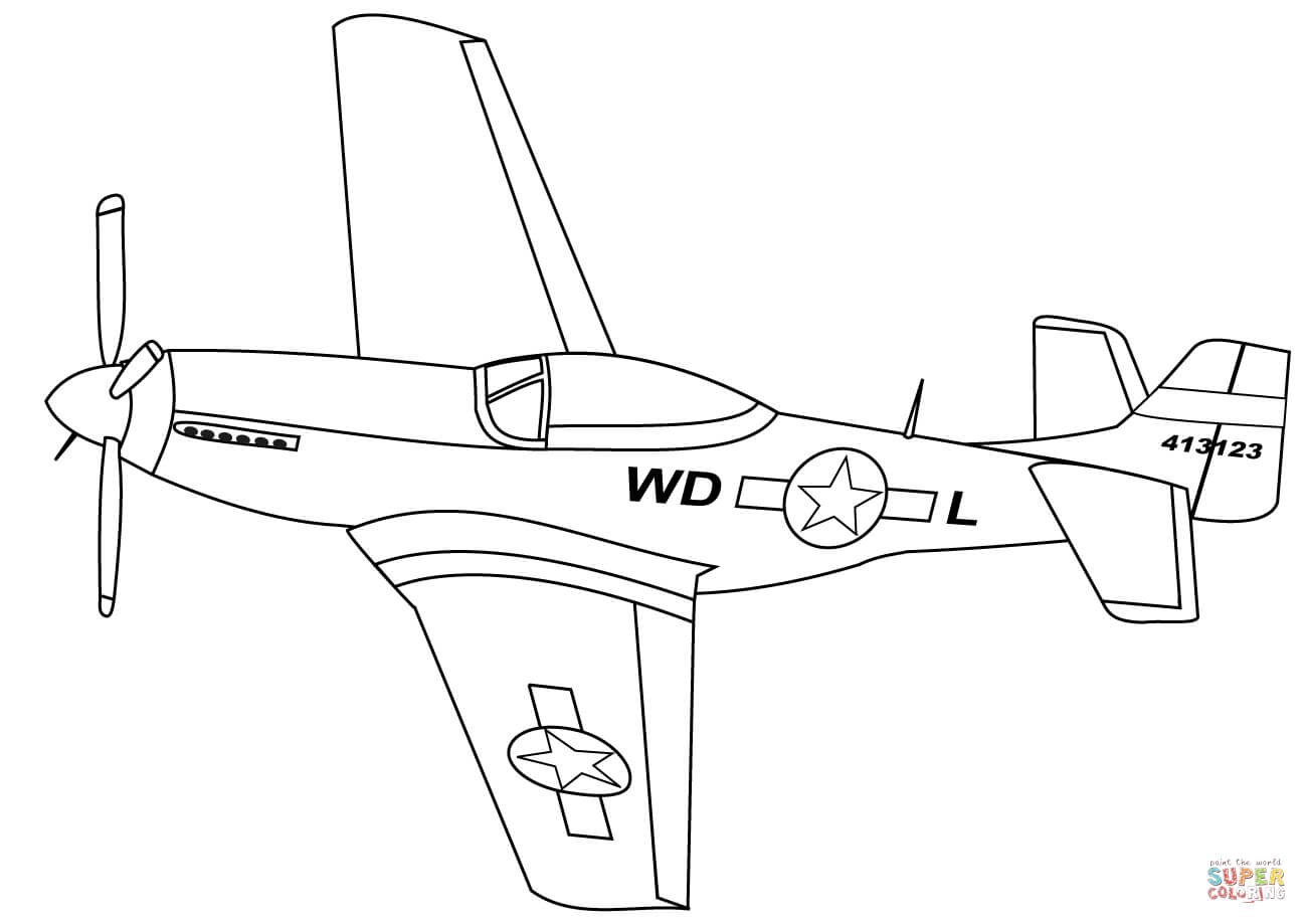 Airplane clipart mustang. P coloring page free