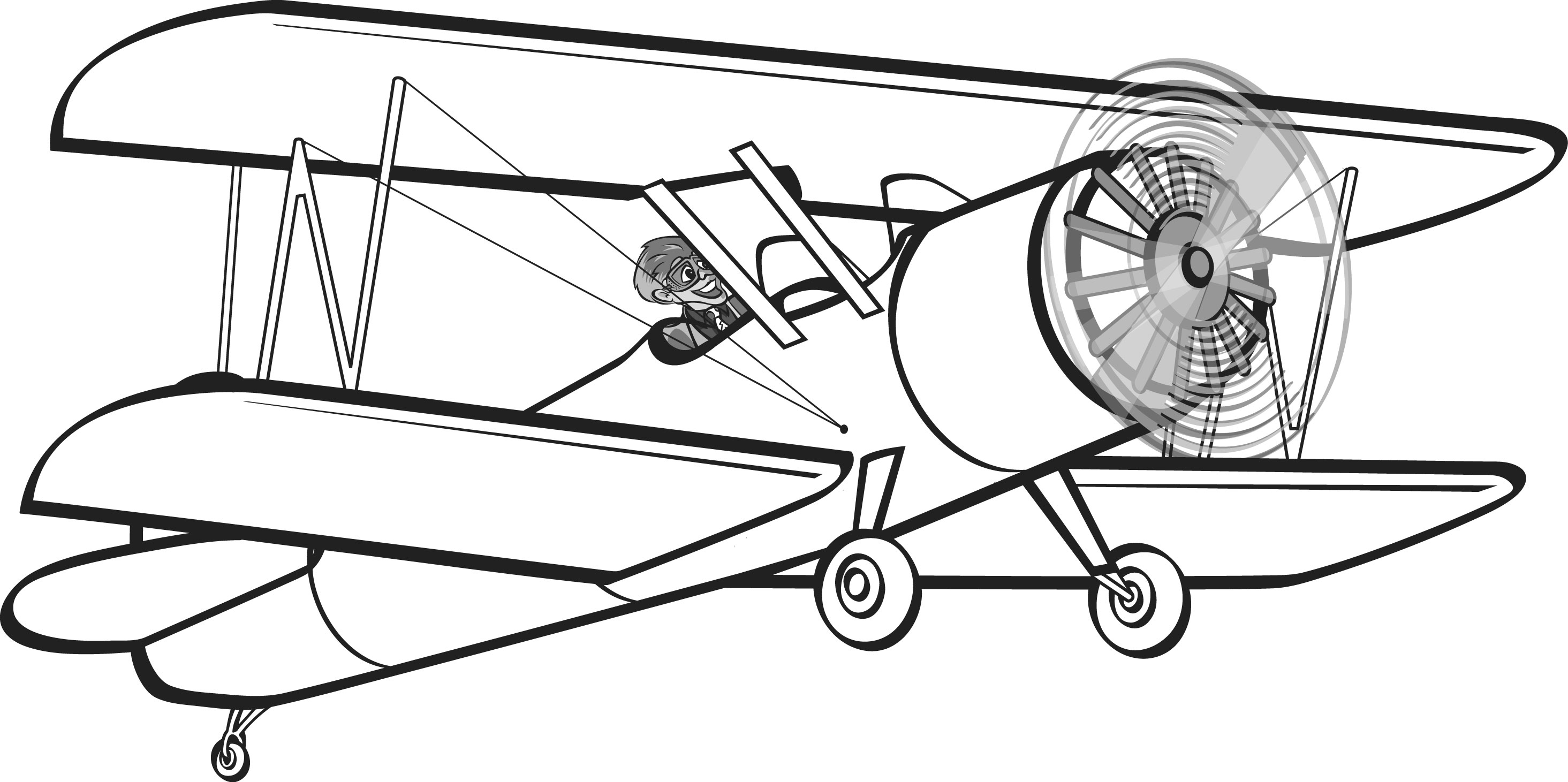 Image of red baron. Biplane clipart black and white