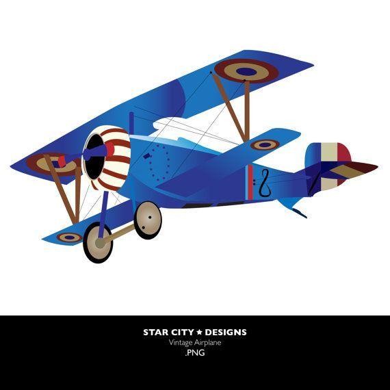 Airplane clip art vector. Biplane clipart vintage