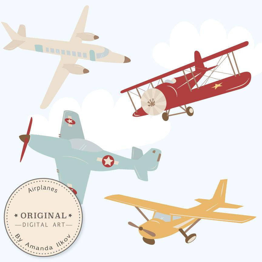 Professional airlplane vectors . Biplane clipart old airplane