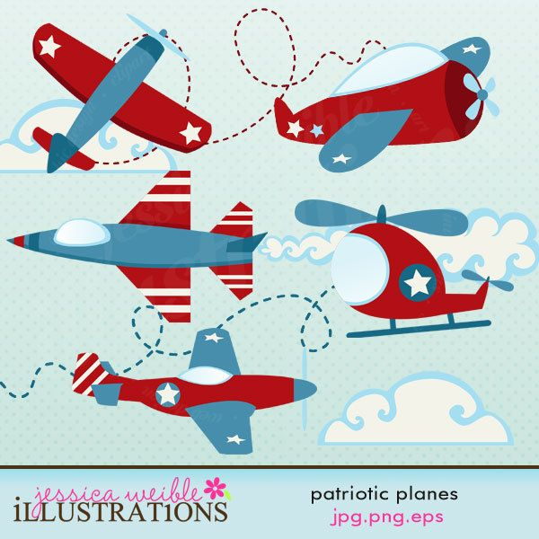 Patriotic planes cute digital. Airplane clipart scrapbook