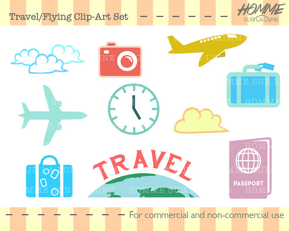 Travel icons scrapbooking supplies. Airplane clipart scrapbook