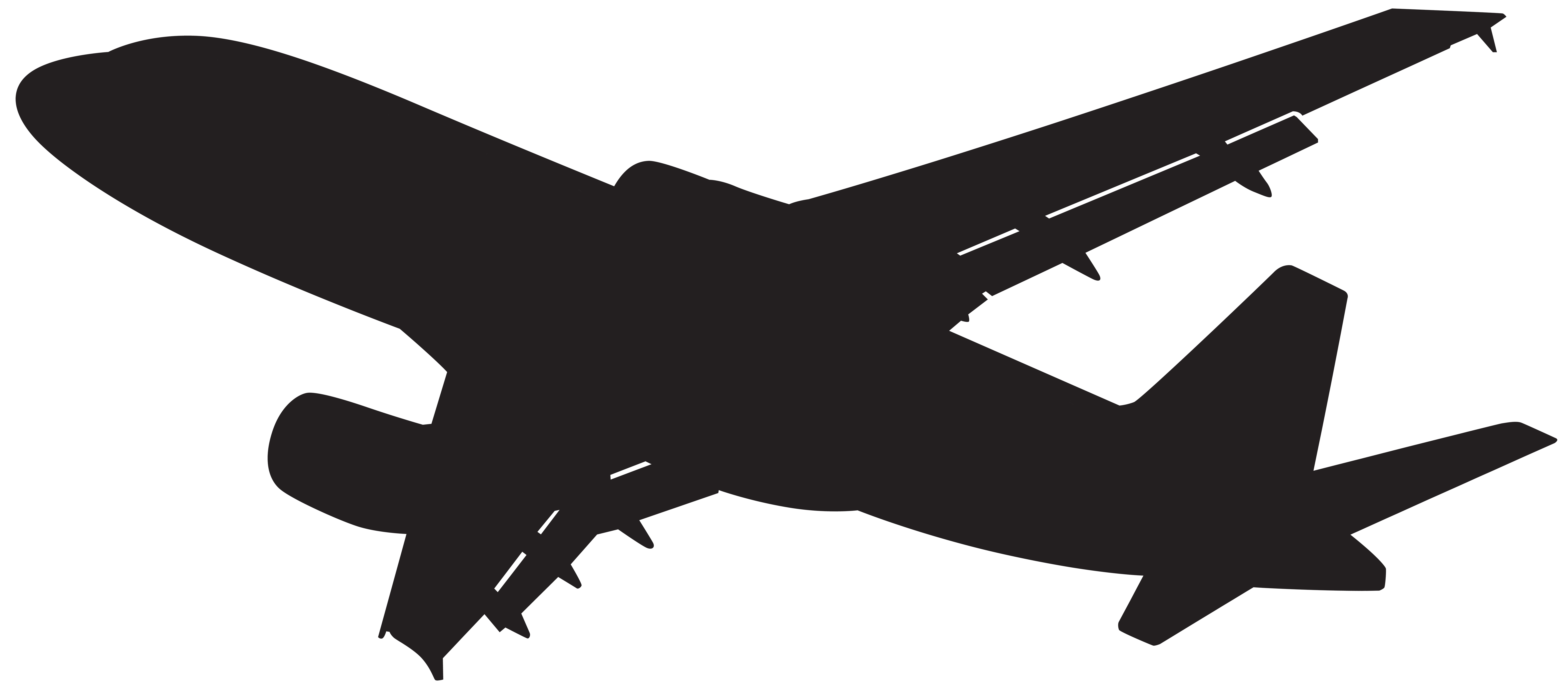 Plane silhouette png clip. White clipart airplane