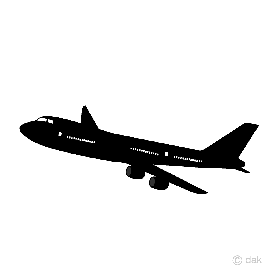 Airplane clipart simple. White and black free