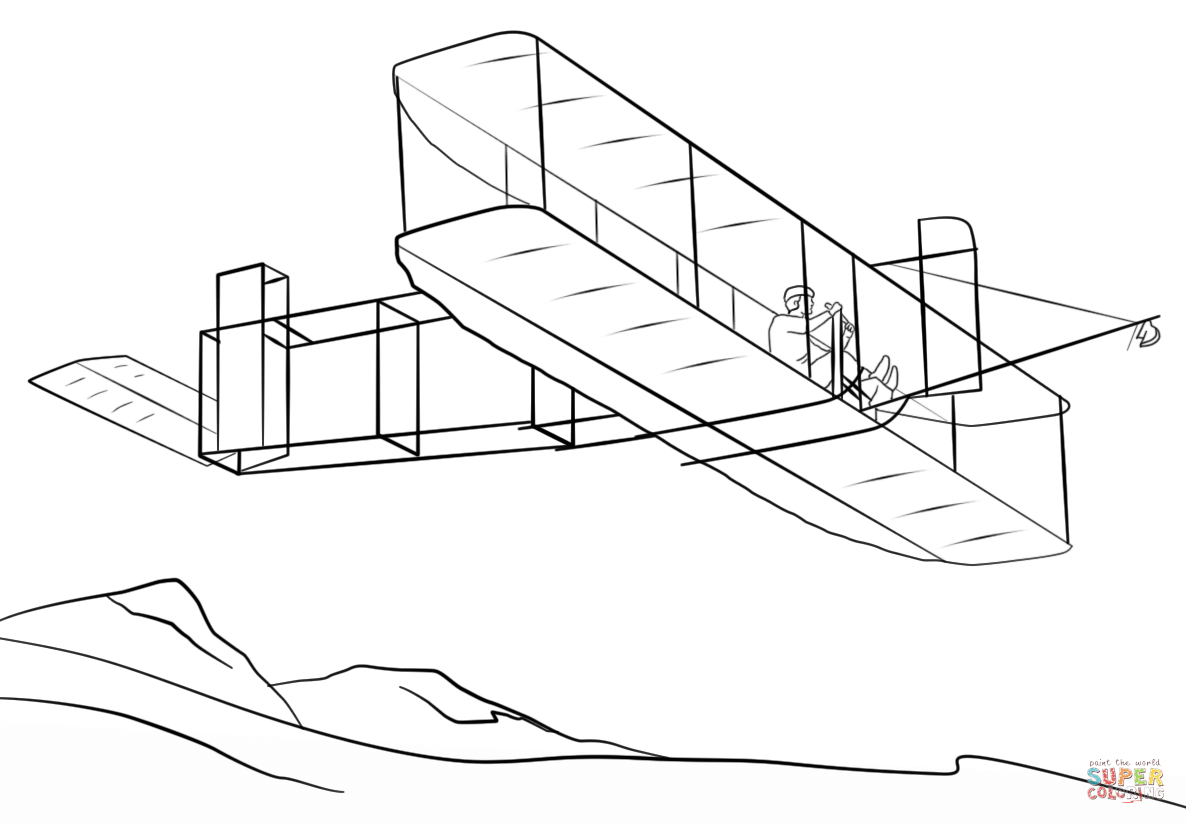 Wright brothers airplane page. Brother clipart coloring
