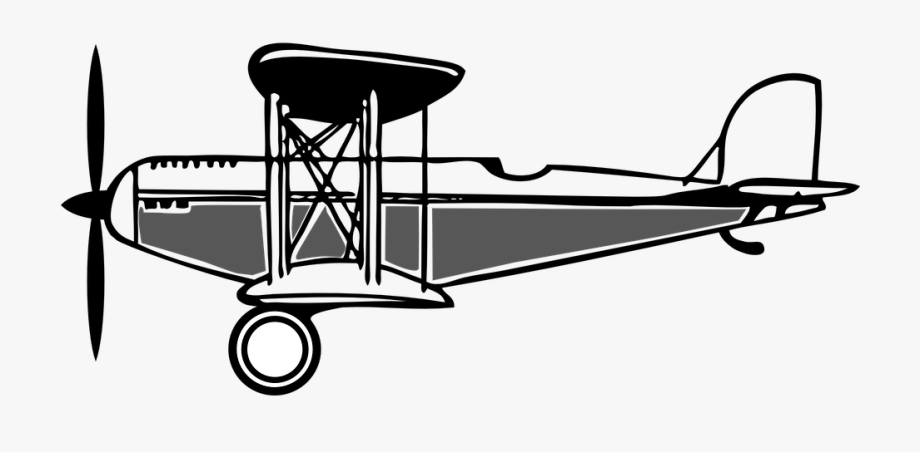Wright brothers plane . Biplane clipart black and white