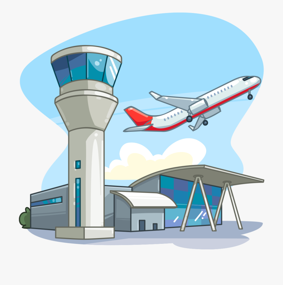 Airplane tower cartoon pictures. Airport clipart