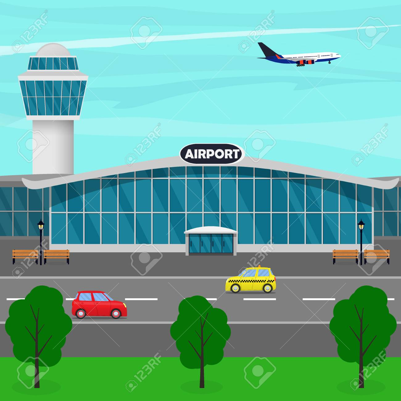 Airport clipart airport building. Terminal control tower plane