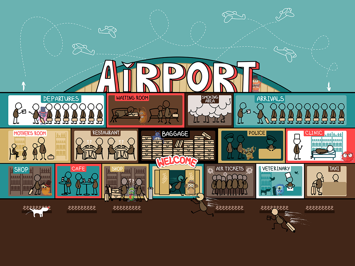 Hide and seek germs. Cafe clipart airport