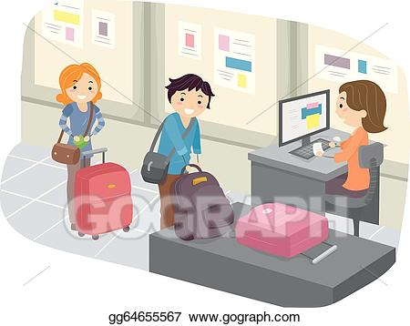 Vector art luggage at. Airport clipart airport check in