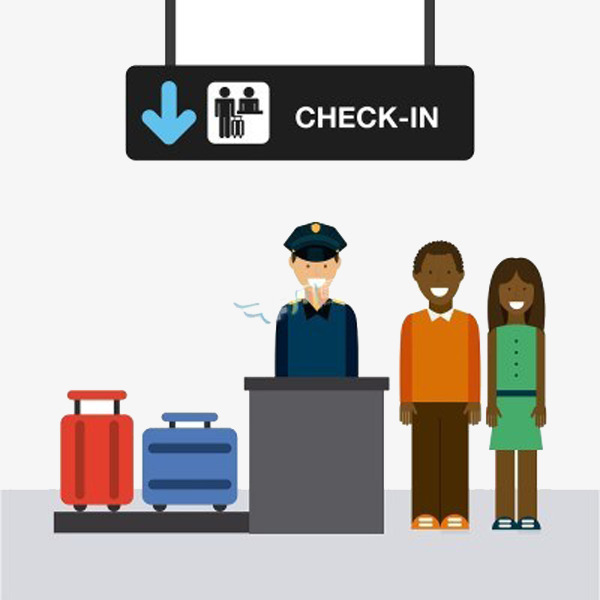 Airport security character items. Check clipart vector