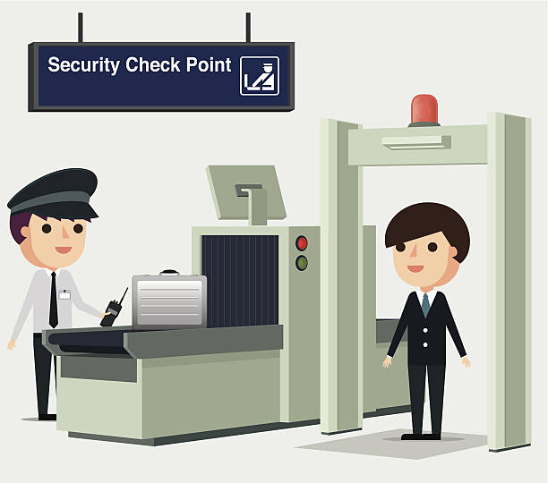 Metal detector with. Airport clipart airport check in