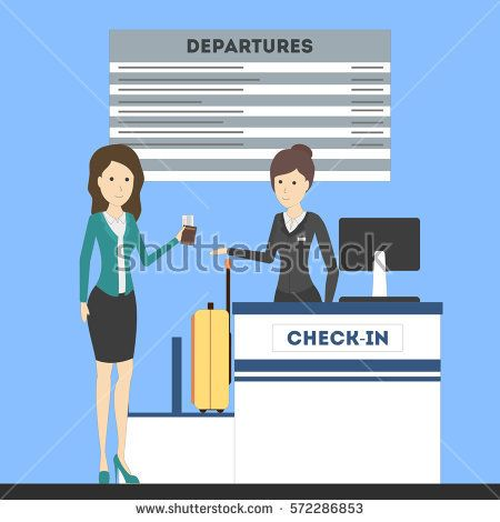 Lady on counter female. Airport clipart airport check in