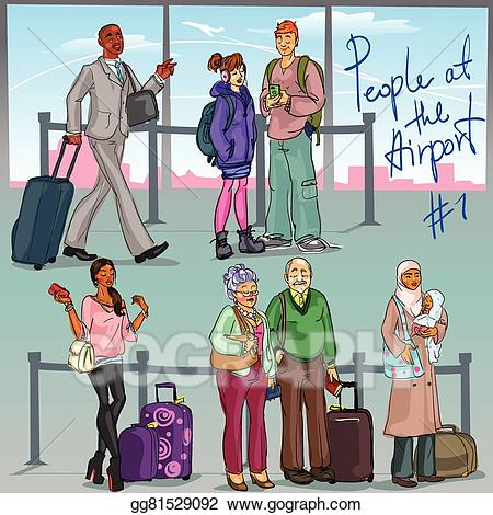 Cafe clipart airport. Vector art people at