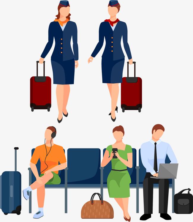 Airport clipart airport passenger. Passengers vector material cartoon