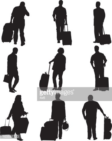 Airport clipart airport passenger. Passengers with their luggage