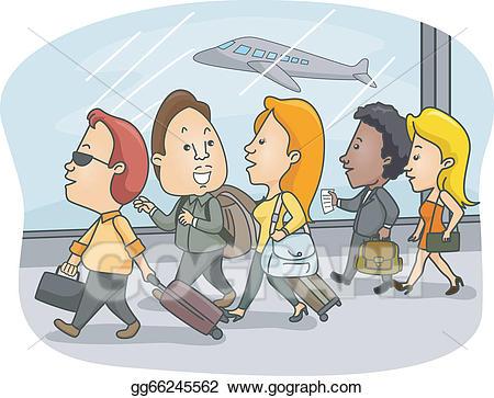 Airport clipart airport passenger. Vector passengers illustration
