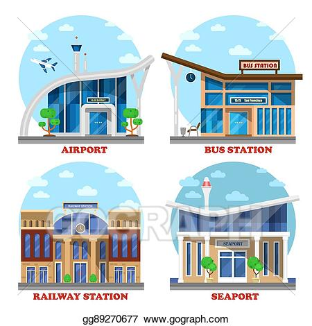 Airport clipart airport station. Vector illustration and train