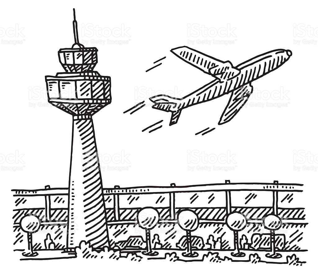 Airport clipart airport station. Black and white