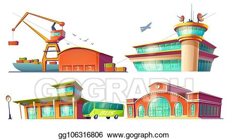 Airport clipart airport station. Clip art cartoon icons