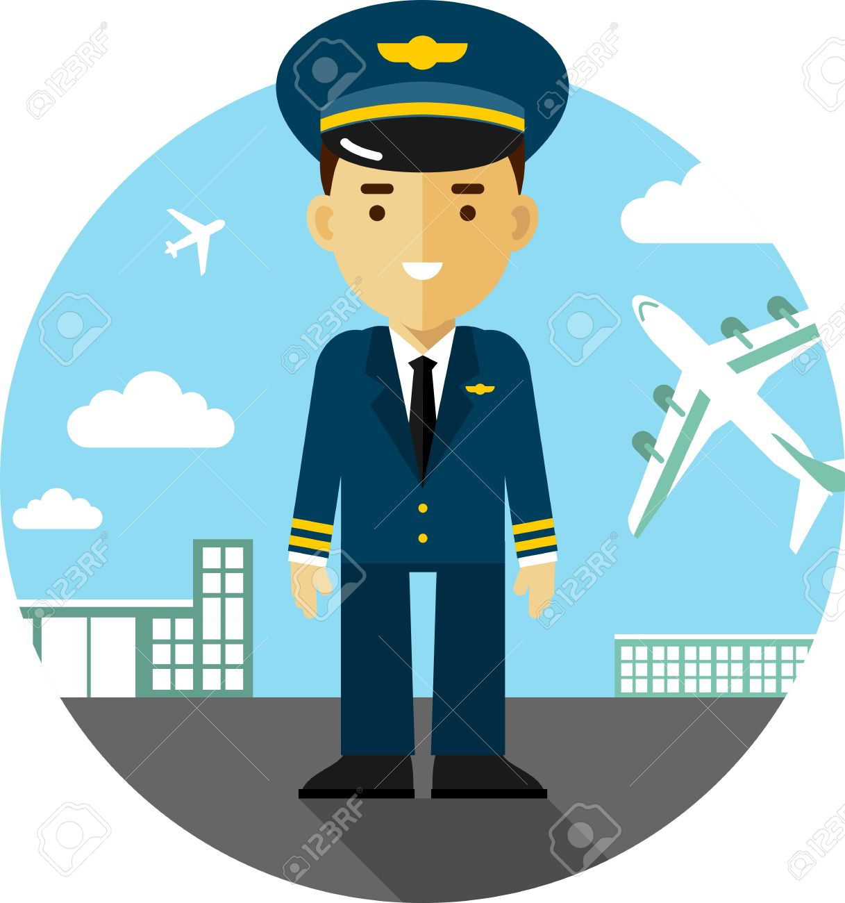 Pilot on station. Airport clipart background