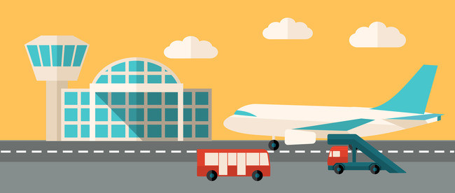Cartoon king transportation poster. Airport clipart background