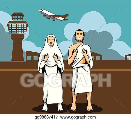 Airport clipart background. Eps vector hajj pilgrim