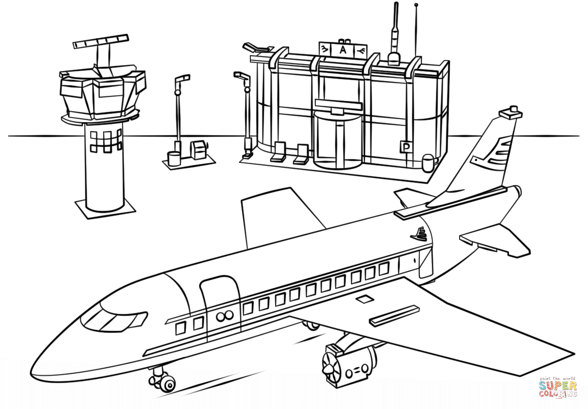 Airport clipart black and white. Lego coloring page free
