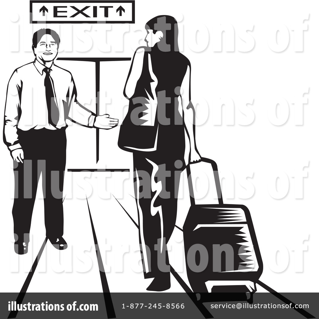 Illustration by david rey. Airport clipart black and white