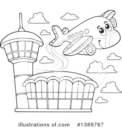 Illustration by visekart . Airport clipart black and white