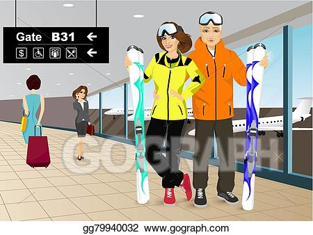 Vector art happy skiers. Airport clipart couple