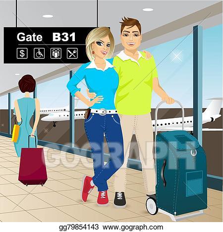 Airport clipart couple. Vector art happy standing