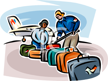 Suitcase pencil and in. Airport clipart couple