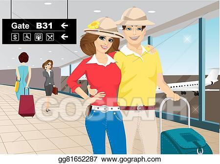 Vector art happy standing. Airport clipart couple