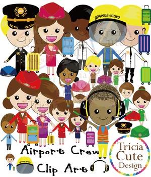 Airport clipart cute. Crew pilot flight attendant