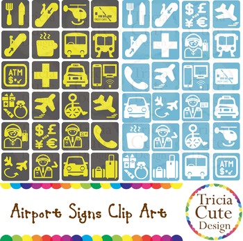 Signs for travel vacation. Airport clipart cute