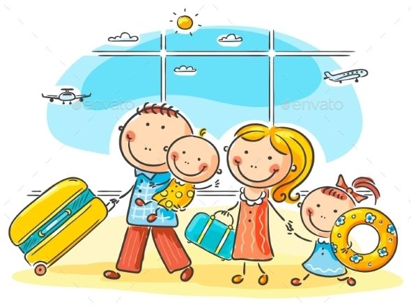 Family in the life. Airport clipart cute