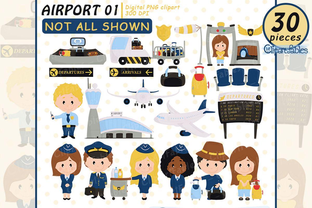 Pilot and stewardess clip. Airport clipart cute