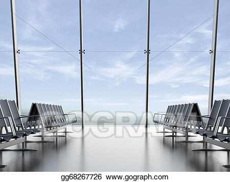 Airport clipart departure lounge. Stock illustration at the