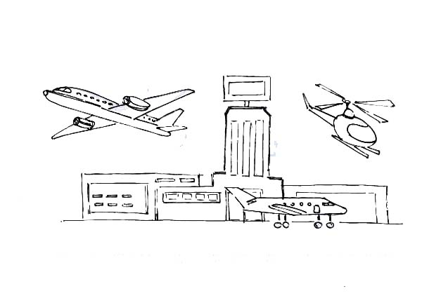 collection of easy. Airport clipart drawing