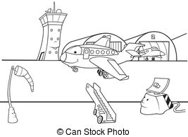 collection of cartoon. Airport clipart drawing
